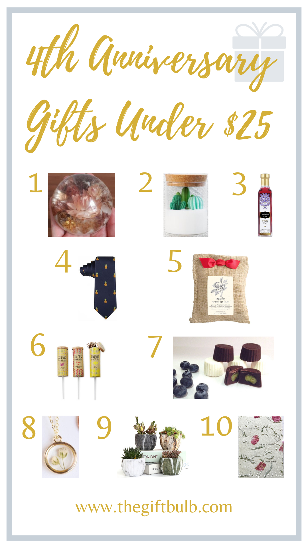 4th Anniversary Gifts Under $25