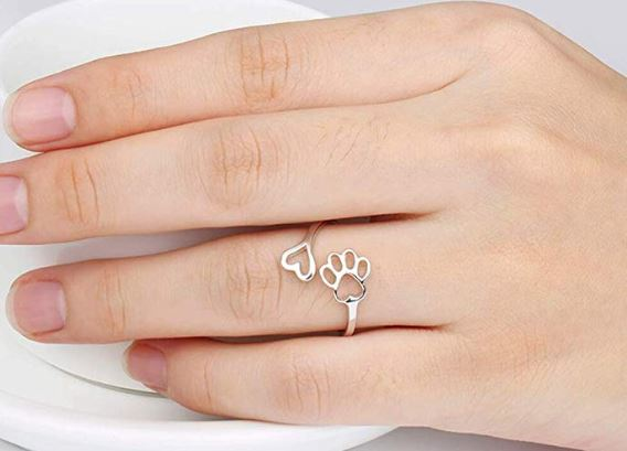 Dog Lovers Paw Print Sterling Silver Ring